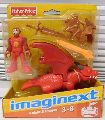 2009 Red Dragon & Knight Fisher Price Imaginext Castle Retired New