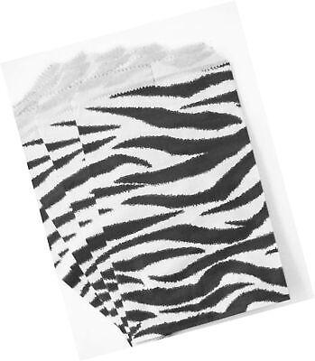 100 Zebra Print Paper Bags 4x6 Inches Flat Merchandise Bags