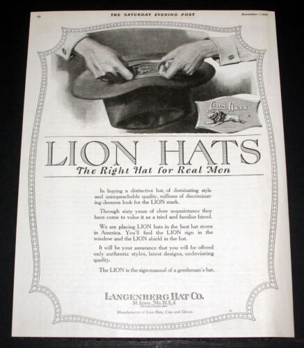 1919 OLD MAGAZINE PRINT AD, LANGENBERG, LION HATS, THE RIGHT HAT FOR REAL MEN!