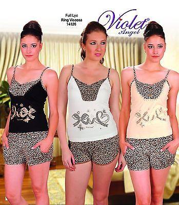 Pajama set with short- Fully Lycra- %100 Cotton- V14126- MADE IN TURKEY - Lycra Short Set