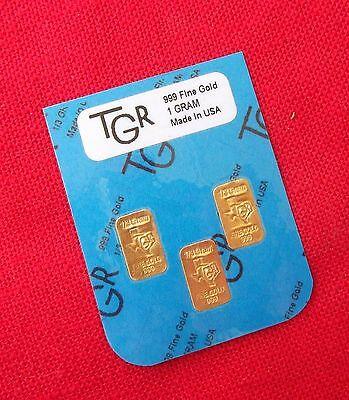GOLD 1 GRAM 24K PURE TGR BULLION BARS 999.9 THE PERFECT PREPPERS COMBO PACK !!