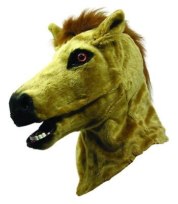 Life Like Masks Halloween (Horse Mask Tan Faux Fur Moving Mouth Life Like Deluxe Costume)