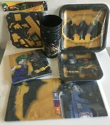 Lego Batman Movie Birthday Party Supplies~Banner, Napkins,Table Cover, Plates - Batman Party Plates