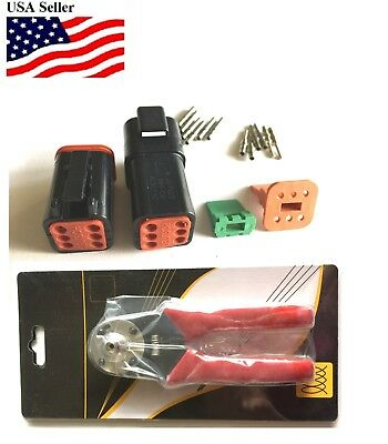 Black Deutsch Dt 6x Connector Kit With Solid Terminal Crimper Tool Male Female