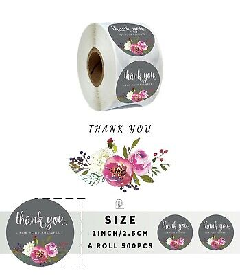 500 Pcs Roll Grey Floal Thank You For Your Business Stickers Shipping 1