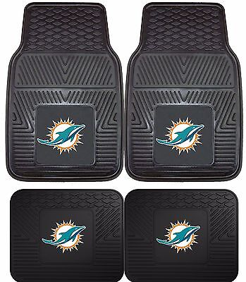 Miami Dolphins Floor Mat (Miami Dolphins Heavy Duty NFL Floor Mats 2 & 4 pc Sets for Cars Trucks &)