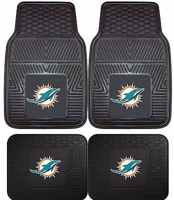 Miami Dolphins Heavy Duty NFL Floor Mats 2 & 4 pc Sets for Cars Trucks & SUV's - Miami Dolphins Nfl Floor Mats