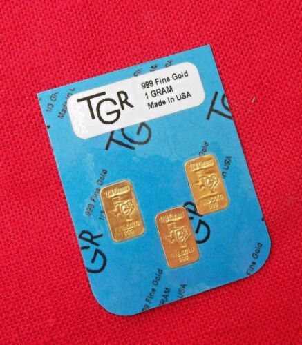 GOLD 1 GRAM 24K PURE TGR BULLION BARS 999.9 THE PERFECT PREPPER COMBO SET !