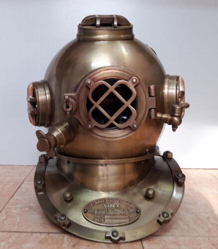 """U.S Navy Diving Helmet Antique Mark V Vintage Divers Helmet Replica Scuba 18"""""""