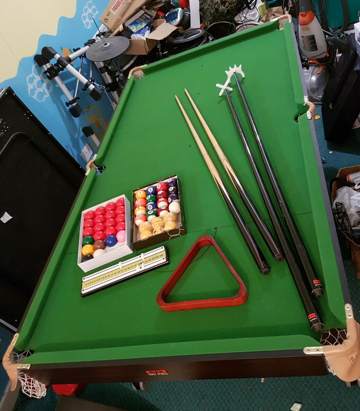BCE 6 ft Snooker / Pool table, snooker + pool balls + cues, rests Stores upright
