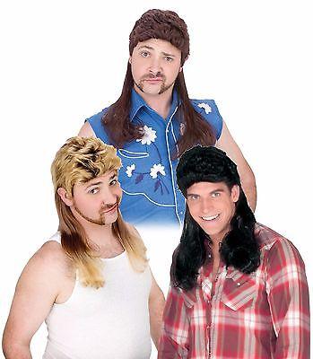 Blond Mullet Wig (Mens Mullet Wigs Black Dirty Blonde Brown Hair Wig White Trash Costume)
