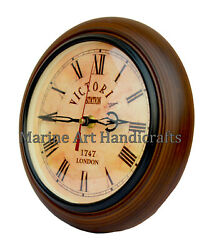 Antique Look Wall Clock Wooden Victoria Station Clock Nautical Home Wall Decor8