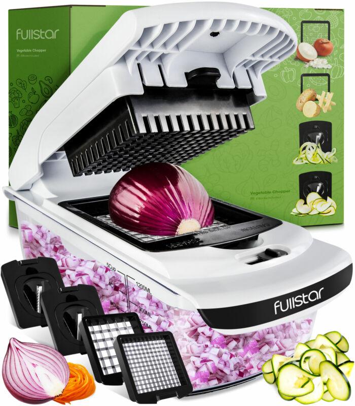 Fullstar Veggie onion Chopper w/container Slicer dicer Spiralizer Cutter 4 blade