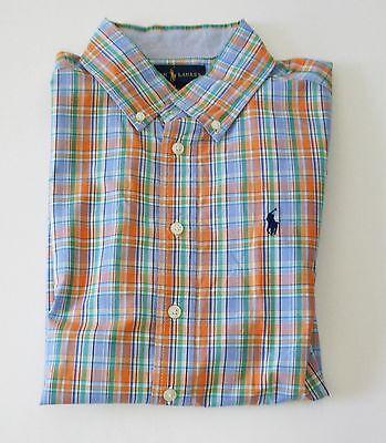 Ralph Lauren Boys Plaid Poplin Short Sleeve Shirt Orange Mult Sz M (10-12)-NWT