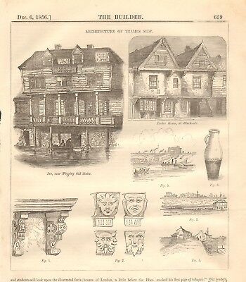 1856 ANTIQUE ARCHITECTURE PRINT- ARCHITECTURE OF THAMES SIDE, WAPPING, BLACKWALL