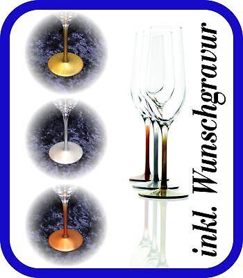 2 Sektgläser mit Gravur - Neuheit -farbiger Fuß- Hochzeit Valentinstag Sektglas (Neuheit Gläser)
