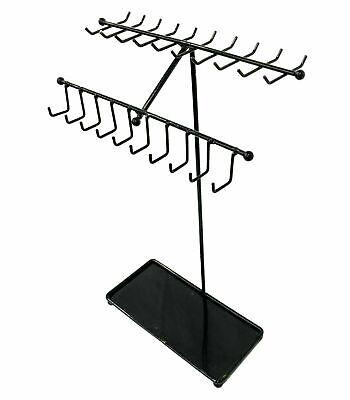 Black Metal Necklacebracelets Display Stand Jewelry Organizer Rack - 30 Hooks
