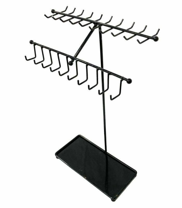 Black Metal Necklace/Bracelets Display Stand, Jewelry Organizer Rack - 30 Hooks