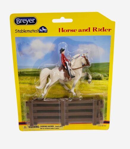 Breyer Stablemates Western Horse and Rider Saddle + Fencing Set Grey New NIP OOP