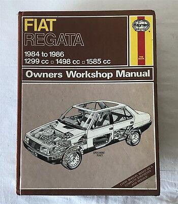 1986 Haynes Manual 1167 FIAT REGATA PETROL 1299cc 1301cc 1498cc1585cc 1984-88