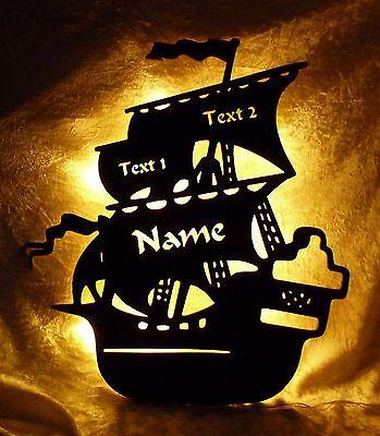 Piratenschif Lampe Nachtlicht mit Name nach Wunsch - Geschenke für Piraten Fans