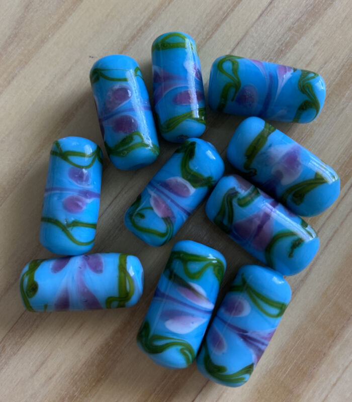 10 TURQUOISE BLUE PINK FLOWER  CYLINDER LAMPWORK GLASS BEADS  - 20mm DIY JEWELRY