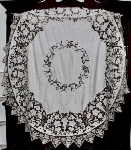 Antique RICHELIEU EMBROIDERY CUT WORK & FILET LACE Irish Linen Round Tablecloth