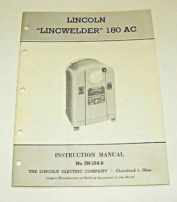 Vintage Lincoln Lincwelder Welder 180 Ac Instruction Manual