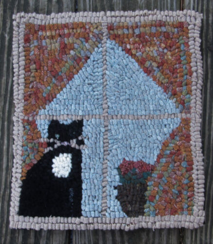 Cat in the Window  Primitive Rug Hooking Kit with Cut wool fabric strips