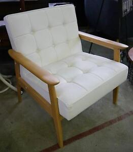 New White Scandi Danish Lounge Arm Chair Natural Timber Melbourne CBD Melbourne City Preview