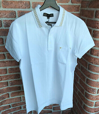 Versace VS55 Collar Polo T-Shirt Pocket Men's Cotton Italy White Size S