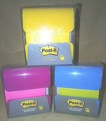 Lot Of 3 Pop-up Note Dispensers By Post-it Each With 90 Sheets Of 3x3 Notes