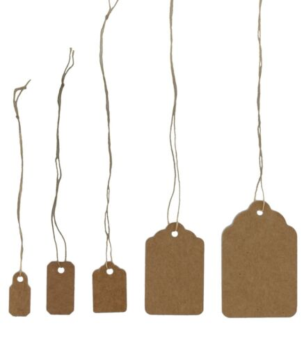 100 pcs Kraft Jewelry Paper Price Tags, Khaki Tags With Strings Many Size