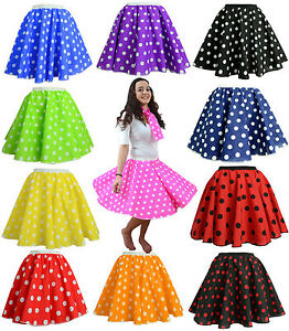 Adults-POLKA-DOT-ROCK-AND-ROLL-50s-SKIRT-SCARF-FANCY-DRESS-COSTUME-Hen-Party