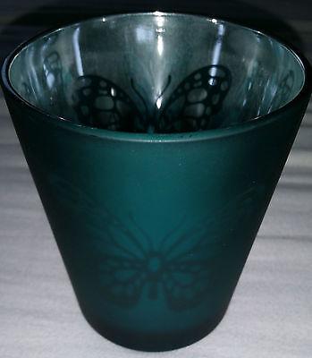 Groß 9 Lichte (Windlicht, groß, Glas, Kerzenglas, 6-9cm Ø, petrol/silber, Schmetterling, NEU!)