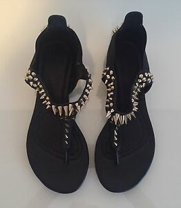"Ladies Sz. 6 ""ZIGIgirl"" Black & Gold Studded Sandals. $10.00"