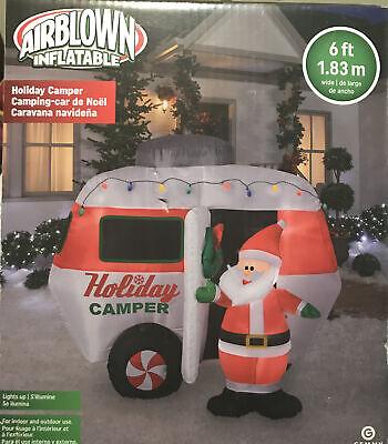 Gemmy 6 Ft Illuminated HOLIDAY CAMPER W/ Santa NIB Airblown Inflatable RV