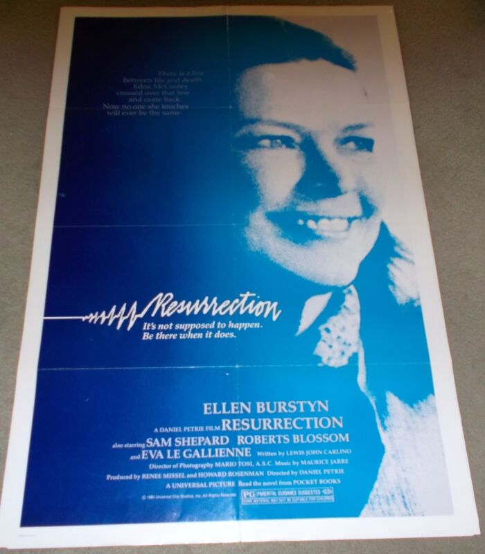 "ORIGINAL MOVIE THEATRE POSTER FOR THE FILM, ""RESURRECTION"", FROM 1980."