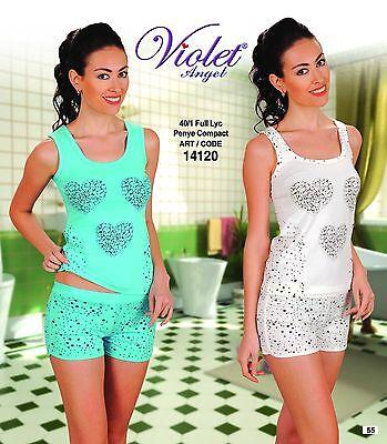 Pajama Set with short - Fully Lycra -%100 COTTON - V14120 - MADE IN TURKEY - Lycra Short Set