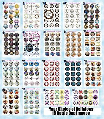 Sunday School Craft (Religious Images God Jesus Faith Sunday School 15-150 Precut Bottle Cap Images)