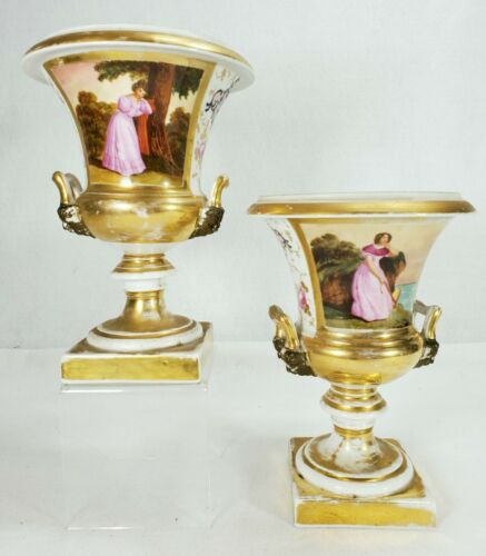 Antique Pair French Old Paris Vases with Beautiful Women Hand Painted Original