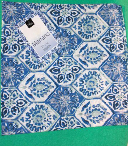 NEW SET 8 PRINTED SLATE BLUE DINNER NAPKINS MERRANO CLOTH JULY 4 DINNER NAPKINS