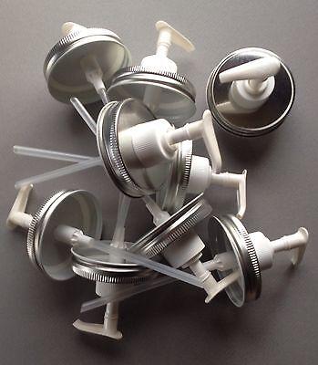 Wholesale Case of 12 Mason Jar Soap/Lotion Dispenser Lid w/ Pump. Silver/ White