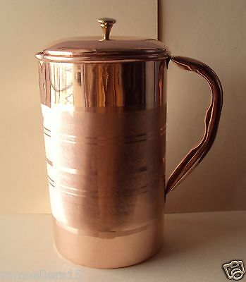 Pure Copper Handmade Jug Water Pitcher 1.5 L & 2 Glasses Tumbler 300 ml Storage