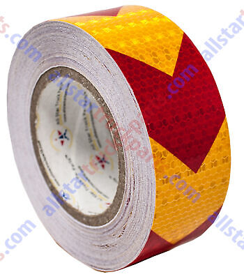 "Yellow Red Arrow Reflective Tape 2"" Hazard Warning Reflectiv"