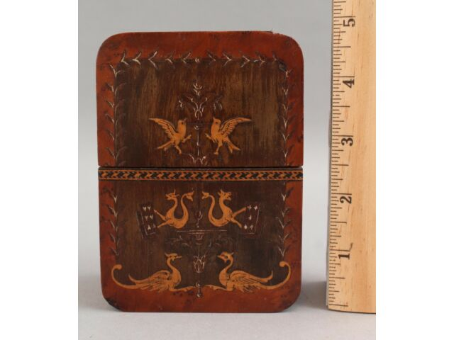 Antique 19thC Detailed Marquetry Inlaid Wood Sea Serpents Playing Card Case Box