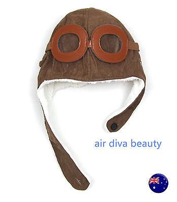 Baby Boy Girl Kids Pilot Captain Halloween warm ski Costume Beanie Hat Cap  (Girl Pilot Halloween Costume)