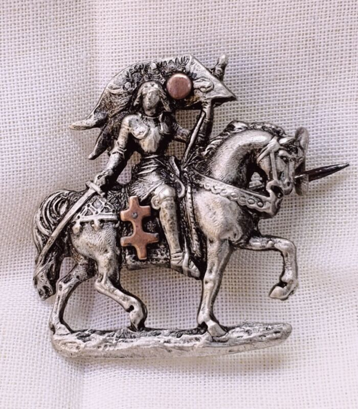 Antique French Sterling Silver JOAN OF ARCH ,Brooch,C - Clamp, Hand Crafted
