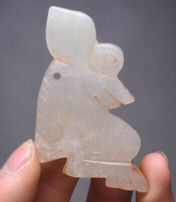 8CM China Natural Old White Jade Coin Carving Sun God Helios Amulet Pendant