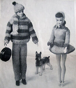 Vintage Barbie & Ken Clothes Knitting Winter Skating Outfits